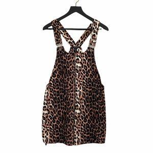 F21 Cord Cheetah Print Overall Dress Jumper